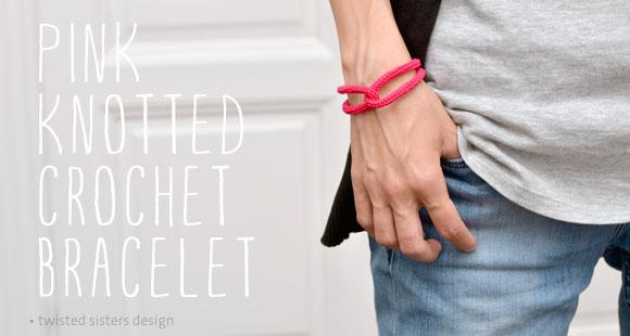 Pink Knotted Crochet Bracelet