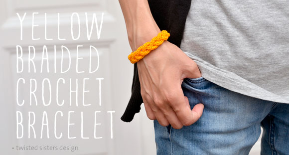 Yellow Braided Crochet Bracelet